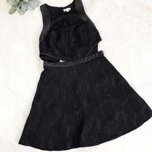 Silence+Noise Black Brocade Cutout Skater Dress